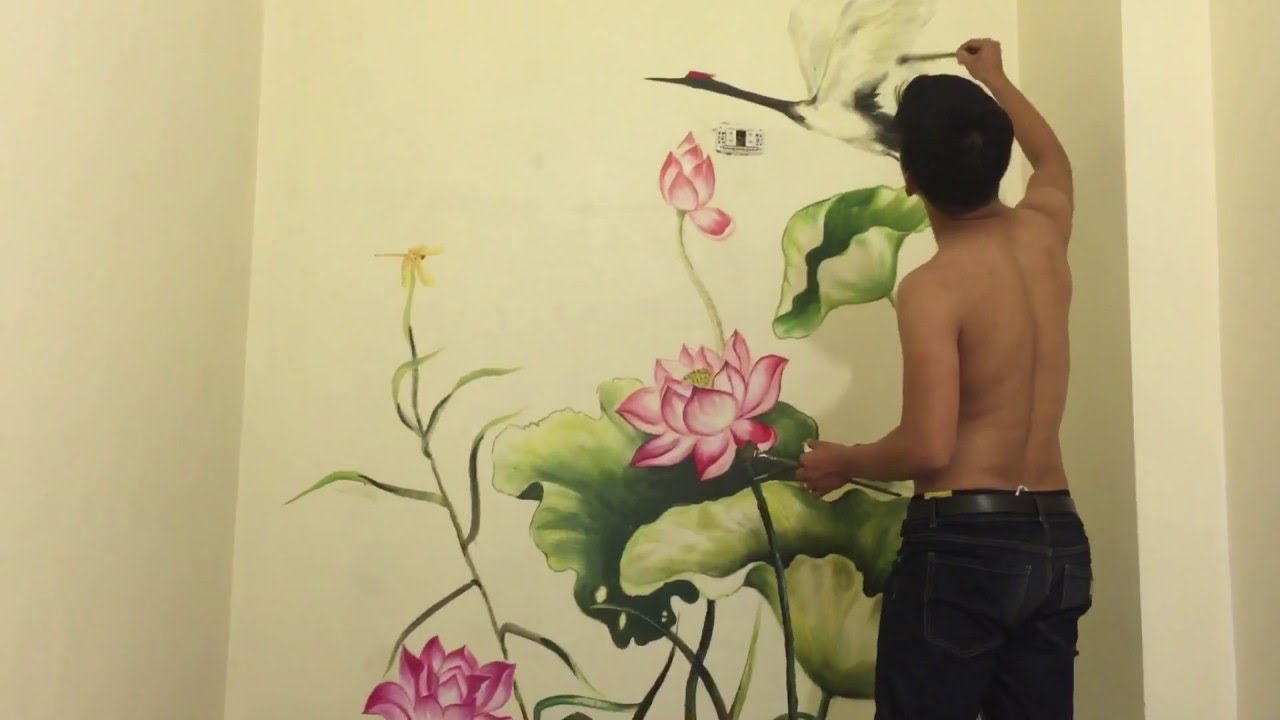 Cách vẽ tranh tường 3d-hoa sen 3d và hạc phòng thờ lh 0908766656 #1