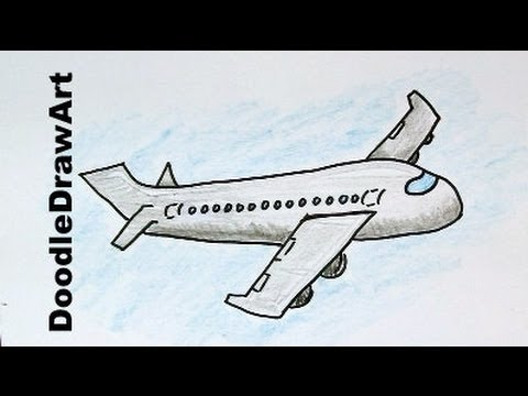 How to draw a cartoon airplane easy drawing lesson for kids