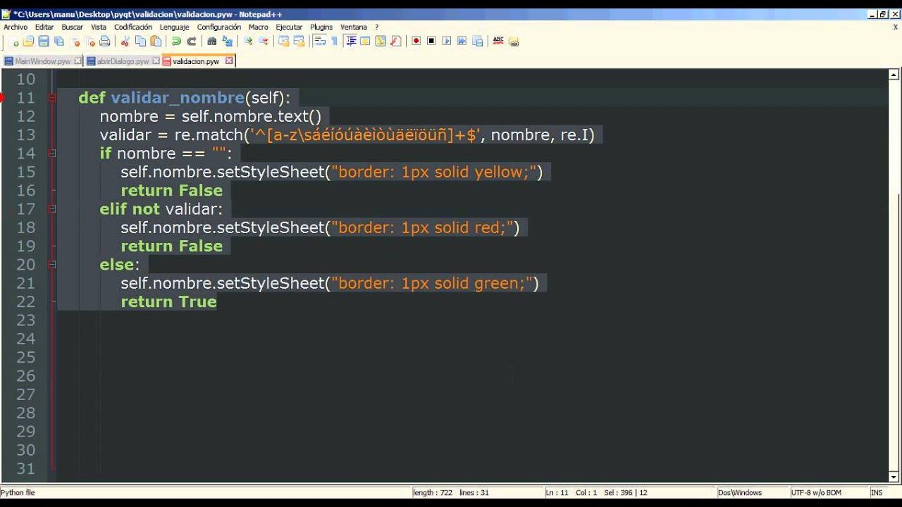 6 - Python PyQt (Interfaz gráfica) - Validar formularios con expresiones  regulares