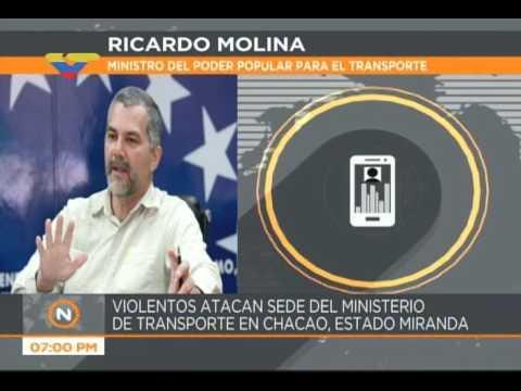 Ricardo Molina denuncia ataque al Ministerio de Transporte y destrucción de 3 camiones