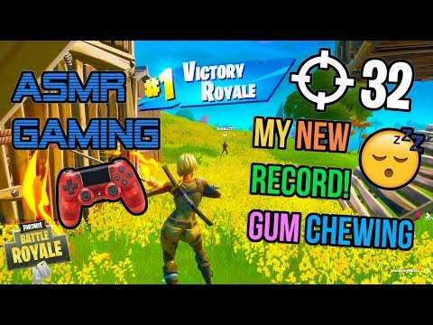 ASMR Gaming 😴 Fortnite My New Record Relaxing Gum Chewing 🎧🎮 Controller Sounds + Whispering 💤
