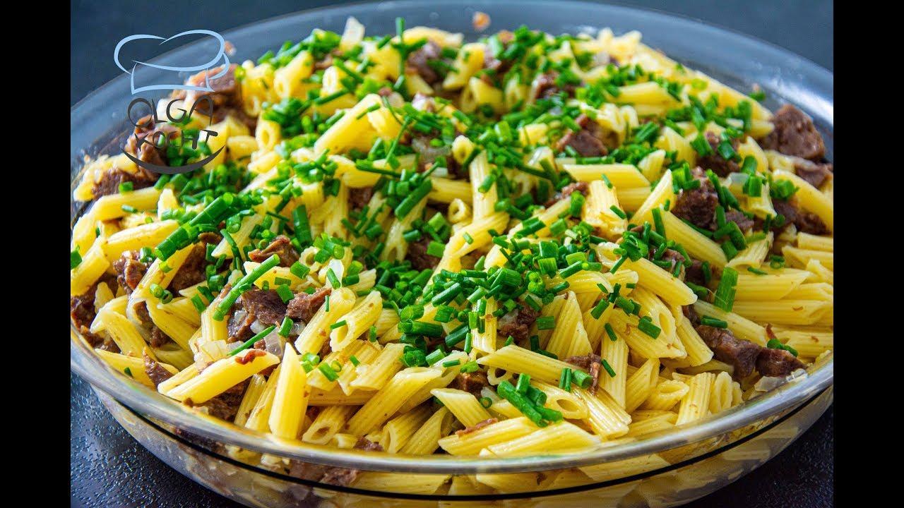 Nudeln mit Rindfleisch - Mittagessen in 20 Minuten   Макароны по-флотски