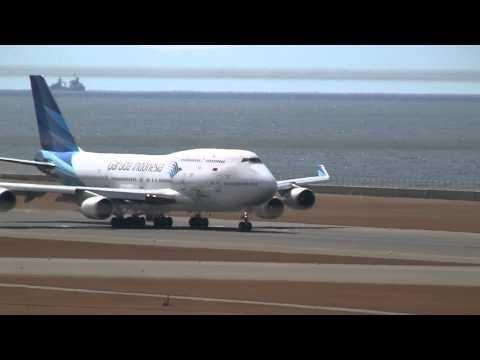 Garuda Indonesia Boeing 747-400 Landing & Take off at Nagoya (NGO)