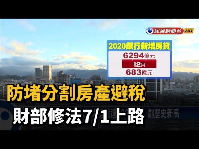 防堵分割房產避稅 財部修法7/1上路-民視台語新聞