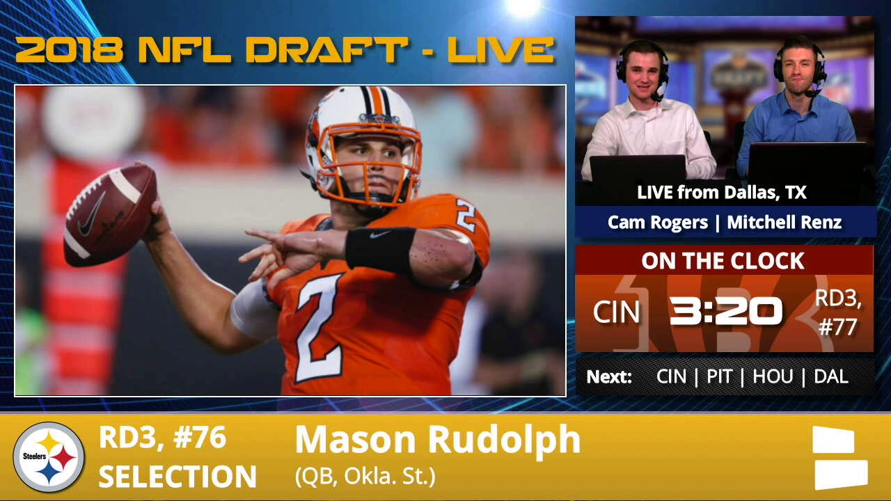 size 40 800db c84e4 Pittsburgh Steelers Select QB Mason Rudolph With Pick #76 In 3rd Round Of  2018 NFL Draft