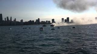 Yacht on fire on Lake Michigan outside of Chicago