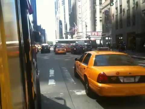 NYC tour bus ride down the street to the Radio City Musicha