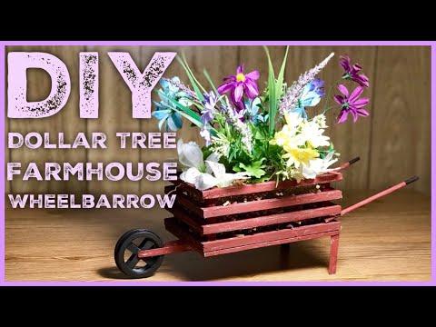 DIY Dollar Tree Farmhouse Wood  Wheelbarrow - Farmhouse Rustic Room Decor
