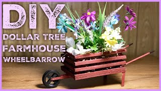 DIY Dollar Tree Farmhouse Wood  Wheelbarrow - Farmhouse Rustic Room Decor