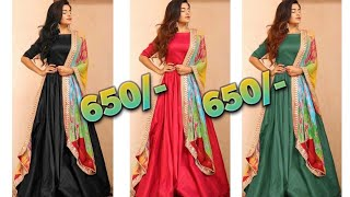 Designer gowns silk designer gown with duppatta indian style gowns online review and sale