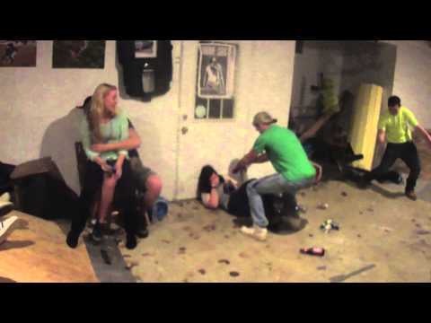 Wasted Chick Falls Durring Party! With Slow Motion!