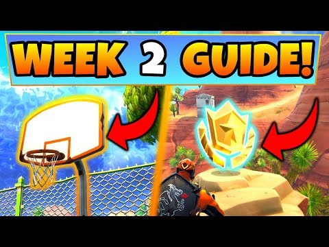 Fortnite WEEK 2 CHALLENGES SEASON 5 GUIDE! – BASKETBALL HOOP Locations, Treasure Map (Battle Royale)