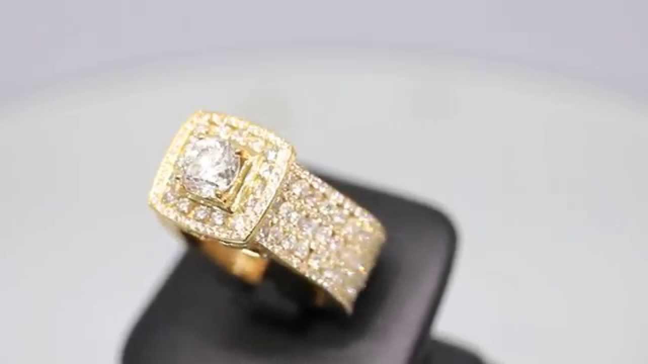 Mens 14K Solid Yellow Gold Custom Diamond Ring 8.20 Ctw