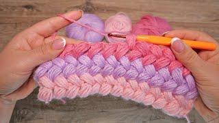 Узор из пышных столбиков крючком, видео ❤ Crochet Bean Stitch ❤ बुनना