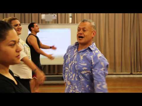 Tuaine Robati teaching at the Pacific Dance Artist in Residence programme 2014