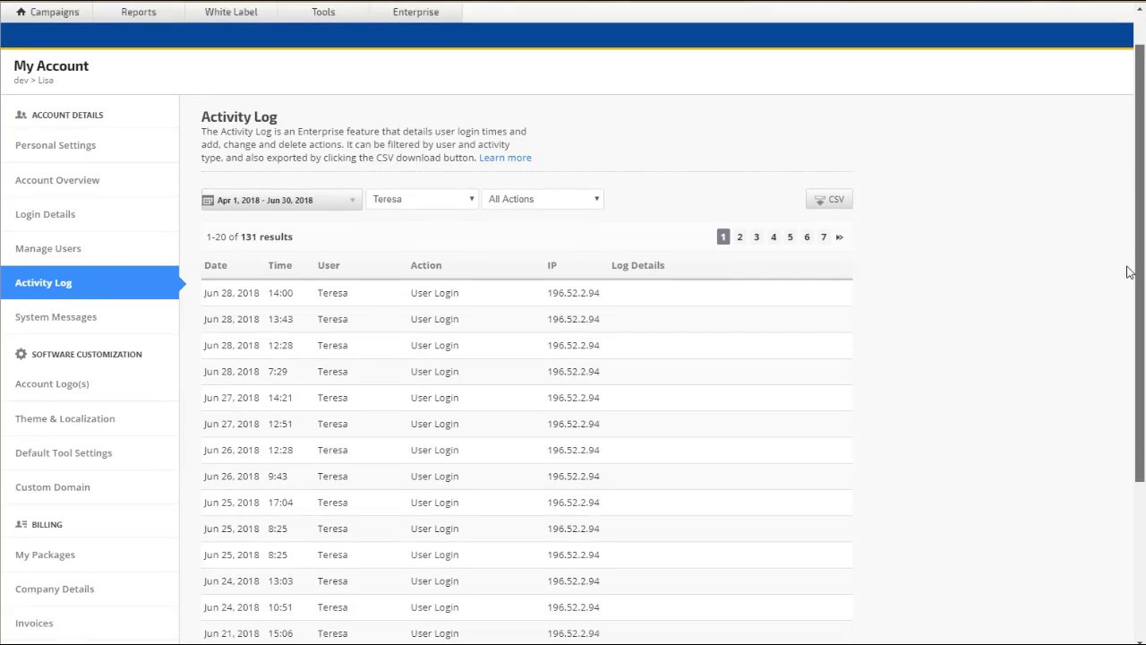 How to Use and Export Activity Log (Enterprise)