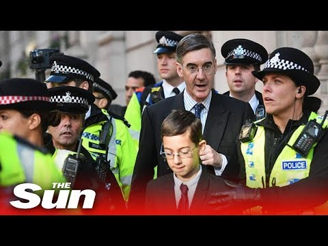 Jacob Rees-Mogg and son, 12, heckled by anti-Brexit protesters who scream 'Nazi' and 'traitor'