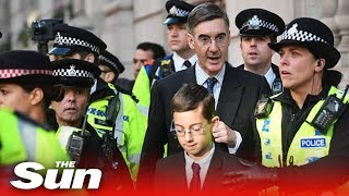Jacob Rees-Mogg and son, 12, heckled by anti-Brexit protesters who scream Nazi and traitor