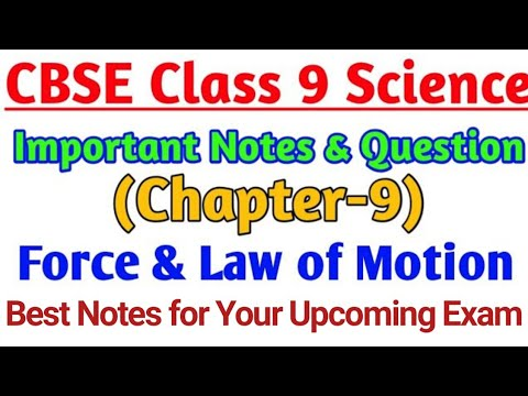 Science Chapter-9 Force & Laws of Motion | Important Notes of CBSE Class 9  Chapterwise |
