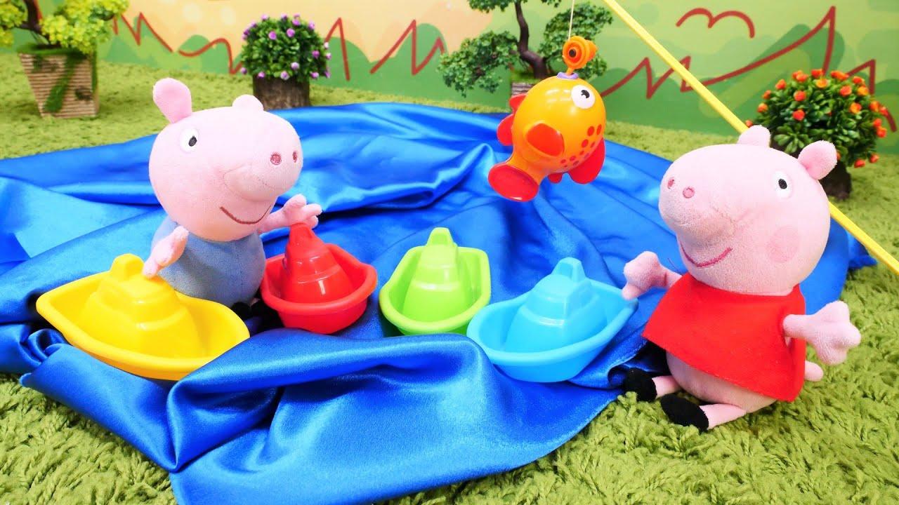 Spielzeugvideo für Kinder - Peppa Wutz und Schorsch - Wir gehen an den See