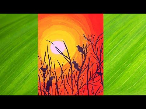 Simple and Beautiful Sunrise Landscape Painting// Sunrise Drawing