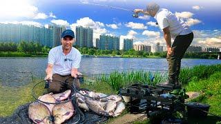 Рыбалка 2020. Ловля на фидер в городе. Как поймать леща карася и  плотву. Флагман фидер и прикормка.