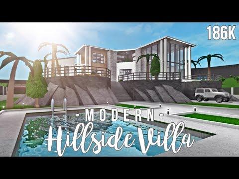 Bloxburg: Modern Hillside Villa 186K + FACE REVEAL ew