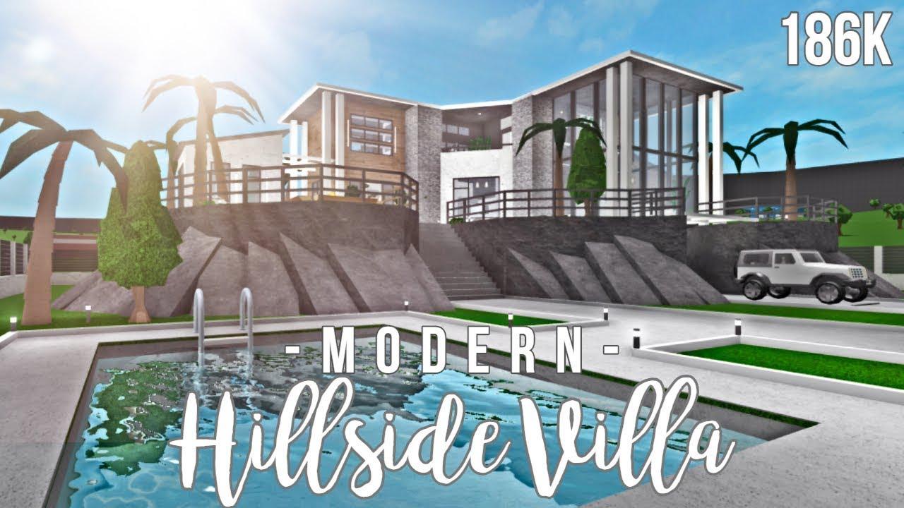 Bloxburg Modern Hillside Villa 186k Face Reveal Ew Youtube