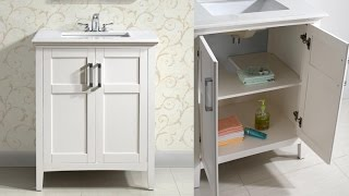 Simpli Home Nl-winston Wh 1-pack Collection Bath Vanity With Internal Shelf Mounted Behind Doors