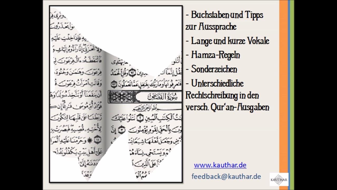 Webinar: Qur\'an-Arabisch I: Das arabische Alphabet, Sonderzeichen ...