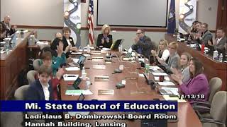 Michigan State Board Of Education For November 13, 2018   Morning Session