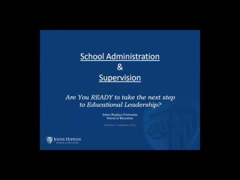 Webinar: Johns Hopkins School of Education Administration and Supervision Programs