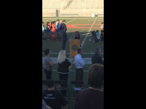 Cynthia Venegas singing the National Anthem at Glacier Point Middle School
