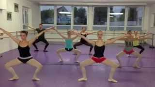 Modern dance class warm-up