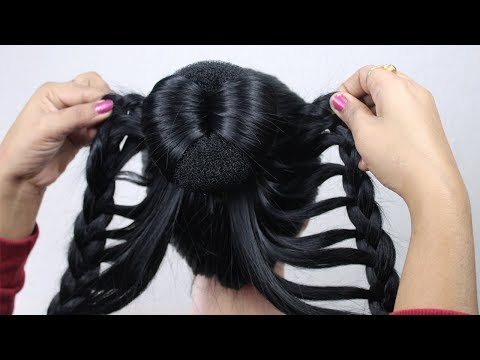 new-latest-hairstyle-using-donut-bun-with-trick-|-easy-hairstyles-for-long-hair-|-hairstyle-2020