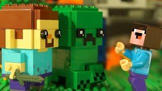 СТИВ и КРИПЕР BrickHeadz LEGO Minecraft - Лего НУБик Майнкрафт Мультики и ФНАФ FNAF