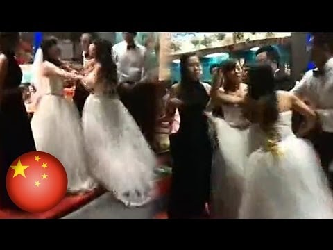 Bride battles with her soon-to-be husband
