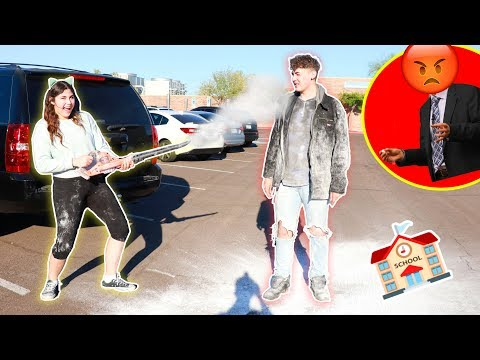 I THREW CORN STARCH ON MY BROTHER WHILE IN SCHOOL! | REVENGE PRANK!!