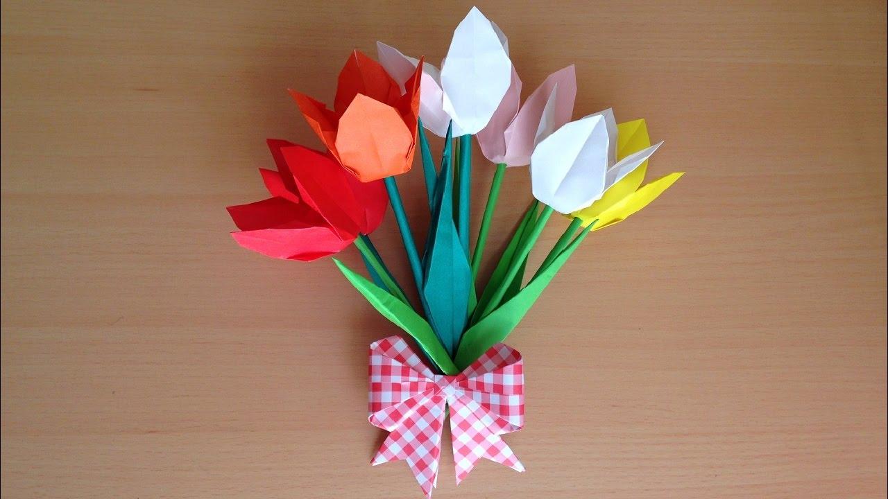 折り紙 花 チューリップ 葉 茎の立体 簡単な折り方(niceno1)Origami flower Tulip tutorial