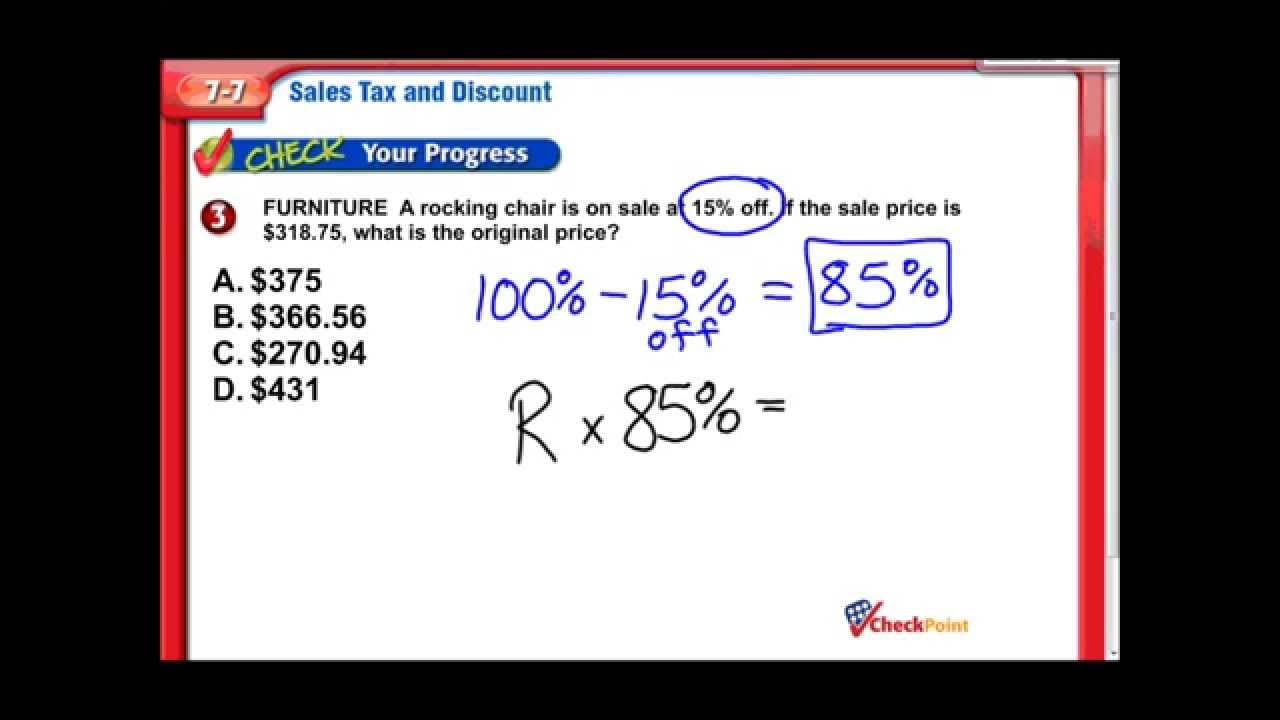 Sales Tax Discount Middle School Math Youtube
