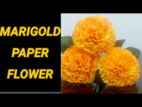 #Crepepaper #PaperFlower How to make MariGold flower from Crepe paper -Easy Tutorial