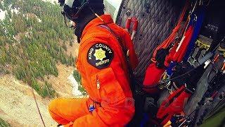 Helicopter Rescue of Injured Hiker From Lake Melakwa (Helmet Cam)