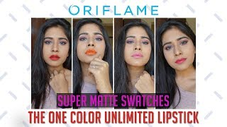 Oriflame The One Color Unlimited Super Matte Lipstick Swatches || Chandni Dialani