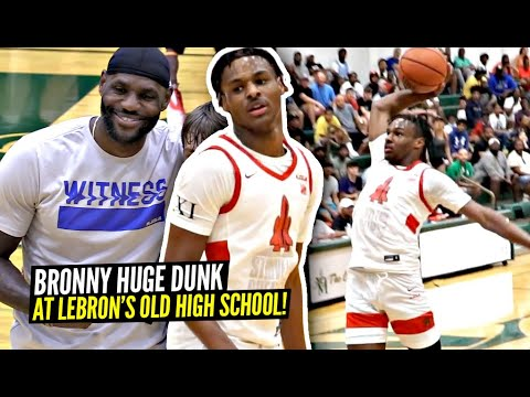 Bronny James Throws Down HUGE DUNK at LeBron's Old High School w/ LeBron Watching!!