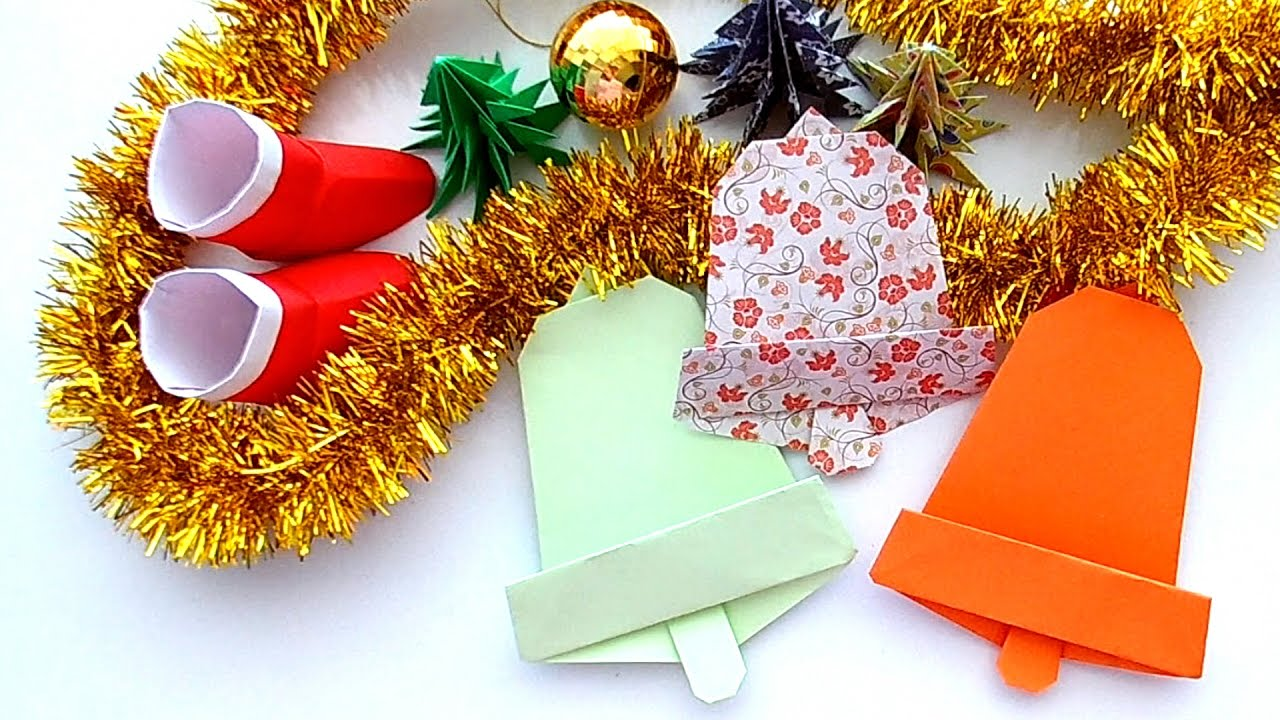 How to make a Christmas Bell Paper , Origami Christmas