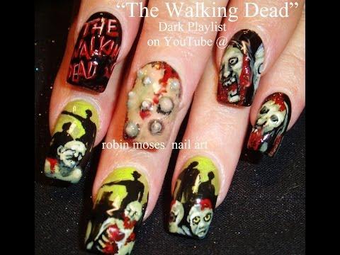 Nail Art Tutorial | Zombie Nails!!! | Walking Dead Nail Art Design
