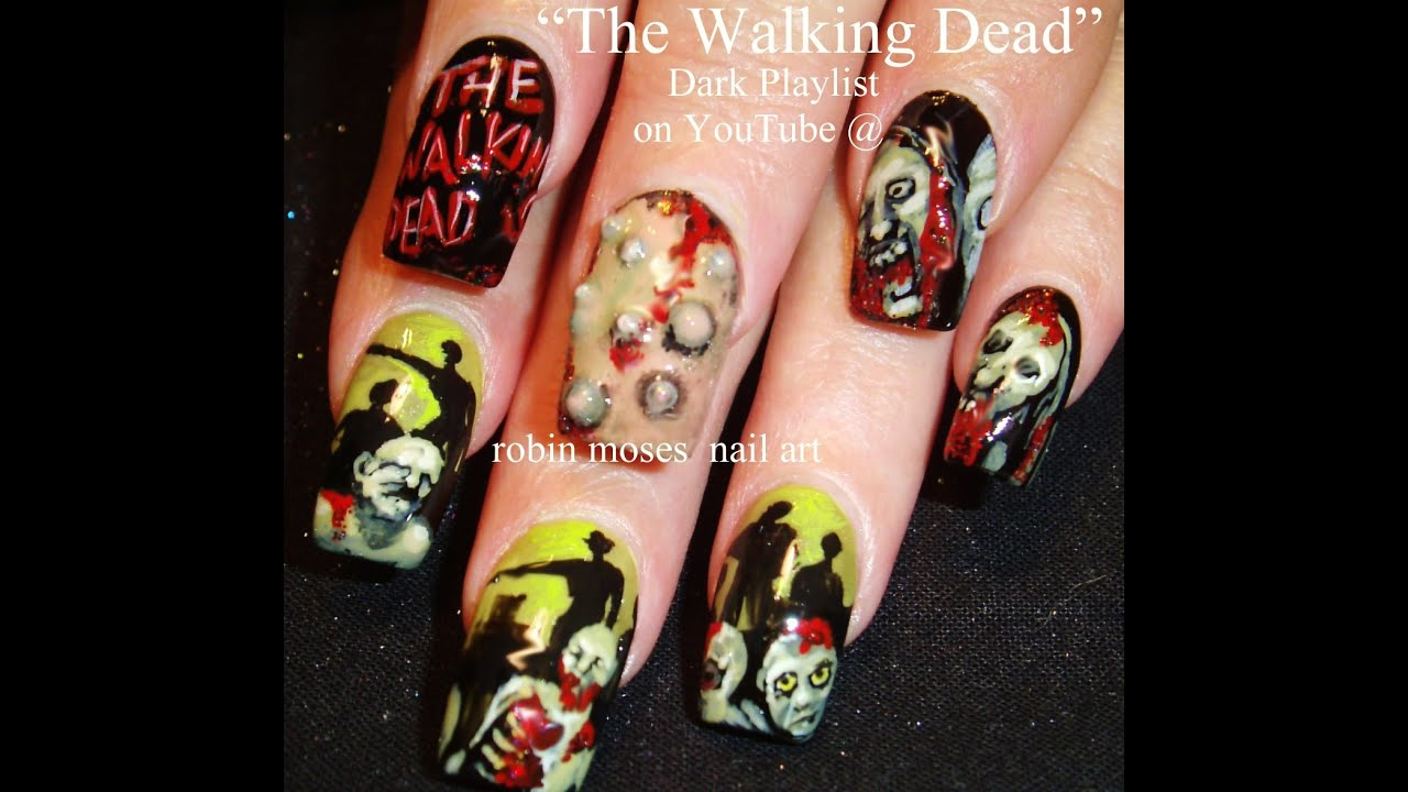 Nail Art Tutorial | Zombie Nails!!! | Walking Dead Nail Art Design - Nail Art Tutorial Zombie Nails!!! Walking Dead Nail Art Design