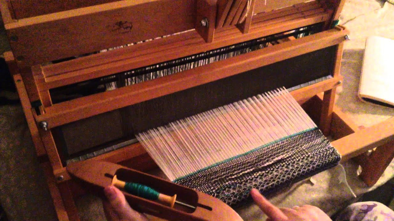 Weaving on my Schacht Spindle Table Top Loom