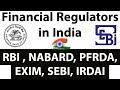 Financial Regulators in India Part 1 - RBI, NABARD, PFRDA, EXIM, SEBI, IRDAI Banking Awareness