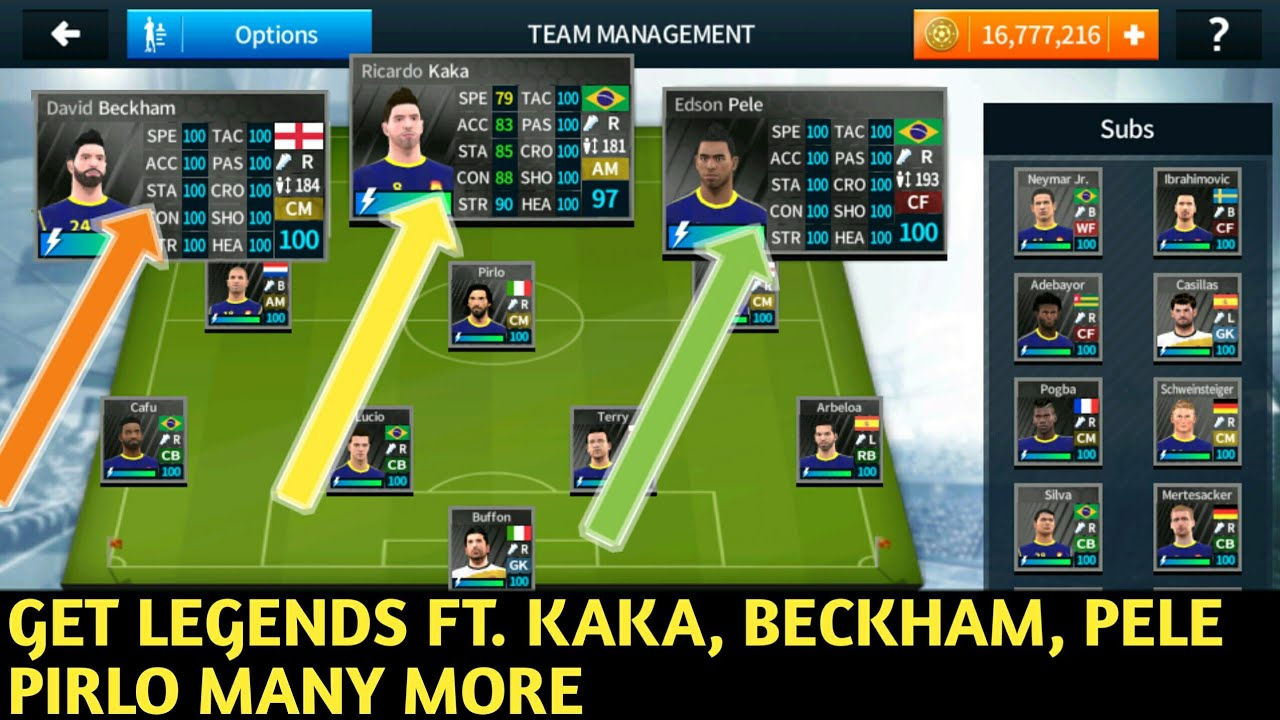 Get Legendary Players Ft Beckham, Kaka, Pele In Dream League Soccer 2018